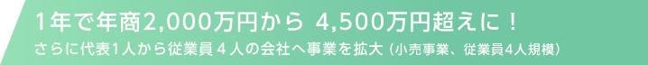 1年で年商2,000万円から4,500万円超えに!